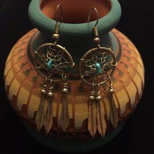 Sterling silver dream catcher feather earrings